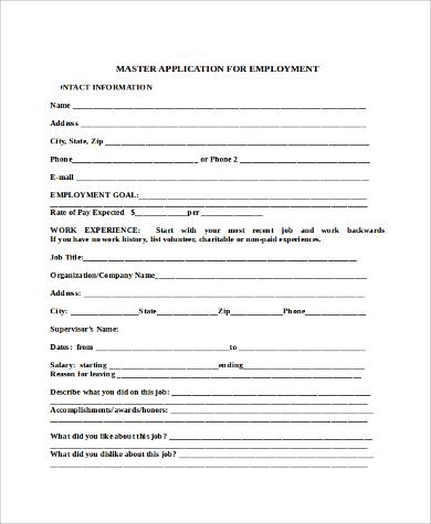 Sample Blank Employment Application Sample - 9+ Examples in Word, PDF - blank employment application
