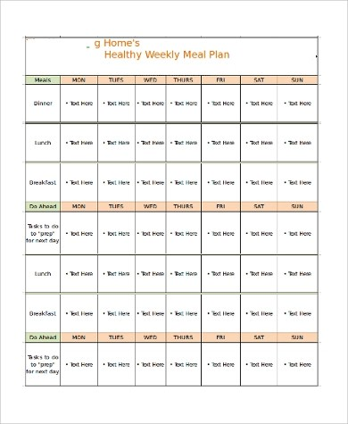 20+ Meal Planner Samples  Templates - PSD, Excel, PDF, Word