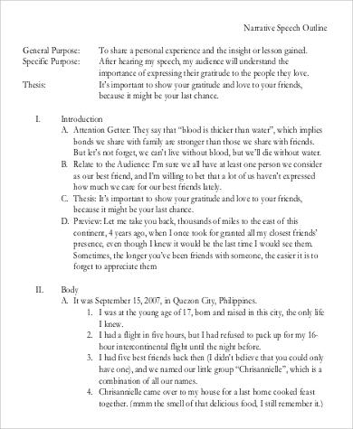 9+ Speech Outline Examples Sample Templates - speech outline