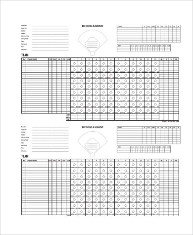 9+ Sample Baseball Scoresheets Sample Templates