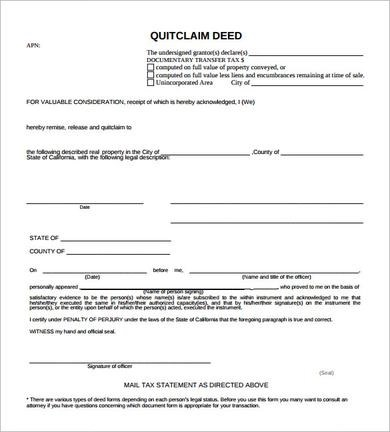 15+ Quit Claim Deed Samples  Templates - PDF