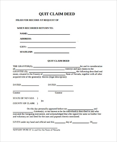 10+ Quit Claim Deed PDF Samples Sample Templates - Quick Claim Deed