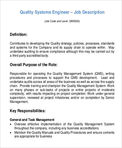 Sample Systems Engineer Job Description - 9+ Examples in PDF - quality engineer job description
