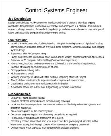 Sample Systems Engineer Job Description - 9+ Examples in PDF - manufacturing engineer job description