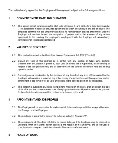 9+ Employment Contract Samples Sample Templates - breach of employment contract