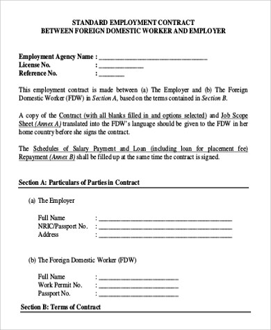 9+ Employment Contract Samples Sample Templates