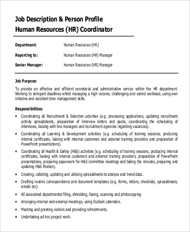 9+ HR Coordinator Job Description Samples Sample Templates - human resource job description
