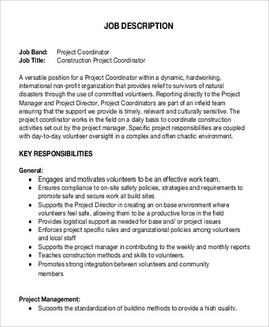 9+ HR Coordinator Job Description Samples Sample Templates - project coordinator job description