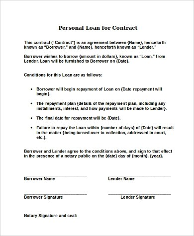 Sample Personal Loan Contract click through for enlarged sample - loan contract sample