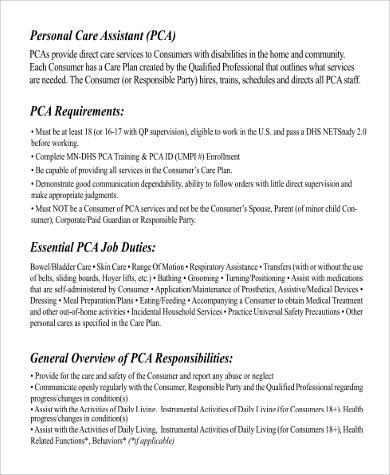 Pca Job Description - Resume Template Ideas