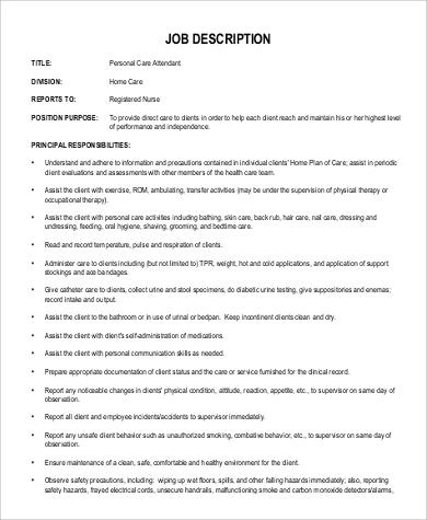 9+ PCA Job Description Samples Sample Templates - pca job description