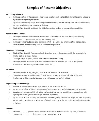 resume objective statement examples 9 samples in pdf resume objective statement examples
