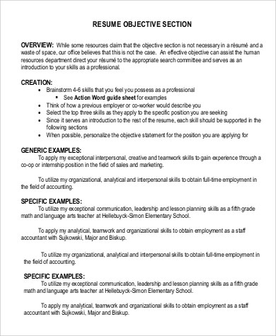 9+ Resume Objective Statement Samples, Examples, Templates Sample