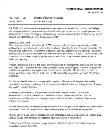 Sample Human Resource Job Description - 9+ Examples in Word, PDF - hr director job description
