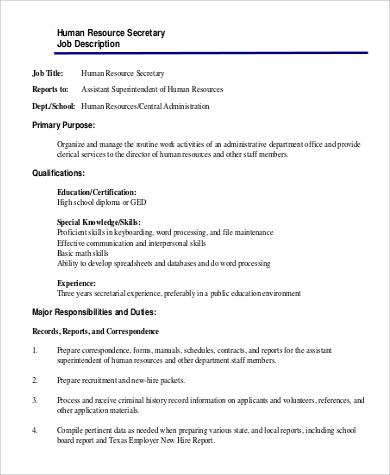 medical secretary job description node2004-resume-template