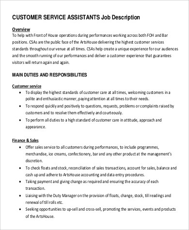 Sample Customer Service Manager Job Description - 9+ Examples in PDF - customer service manager job description