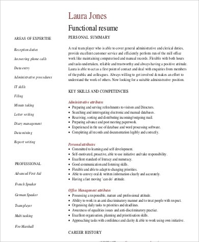 functional summary resume examples node494 cvresume cloud