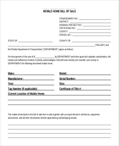 9+ Printable Sample Bill of Sales Sample Templates