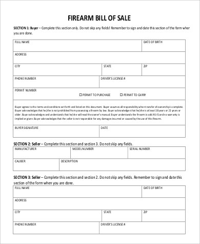 Sample Firearm Bill of Sales - 7+ Free Sample, Example Format Download