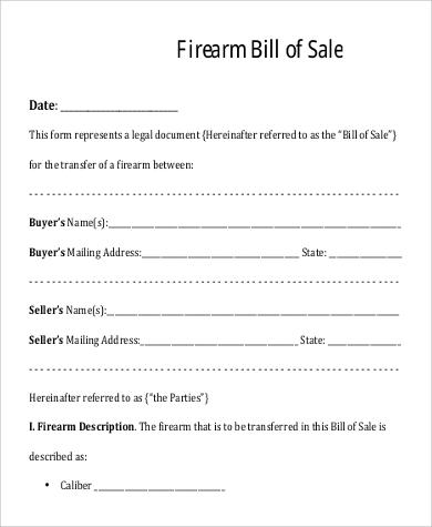 firearm bill of sale word doc - Ozilalmanoof