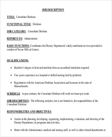 Dietitian Job Description  Resume Template Sample
