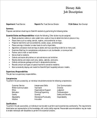 Sample Dietitian Job Description 9 Examples In Word Pdf Dietary Aide Job    Dietary Job Description