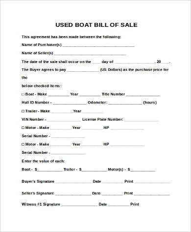 Sample Boat Bill of Sales - 9+ Free Sample, Example Format Download - sample boat bill of sale
