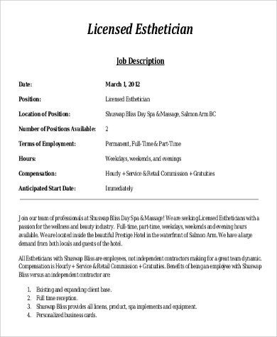 8+ Esthetician Job Description Samples Sample Templates