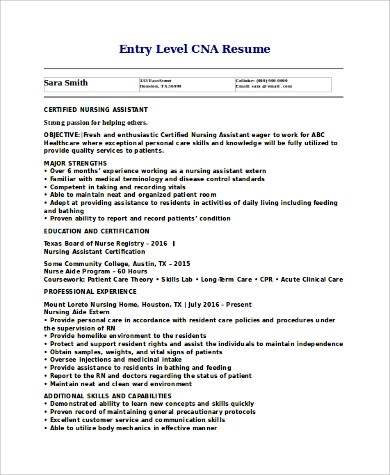 9+ CNA Resume Samples Sample Templates