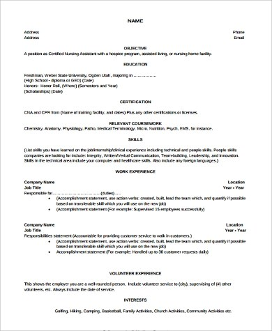Cna Resume Example Cna Resume Examples With No Experience Example