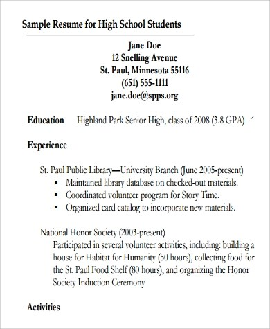 9+ Resumes for High School Students Sample Templates - student first resume