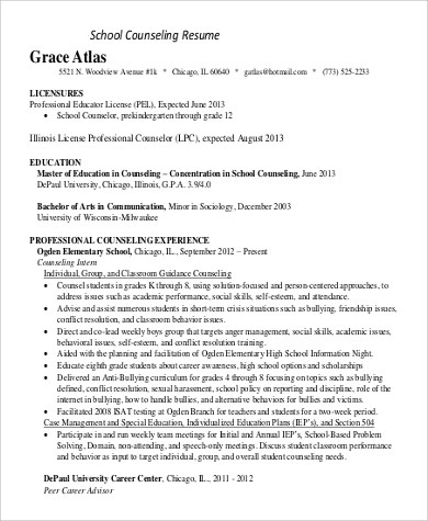 counselor resume sample resume for high school student 9 examples in word