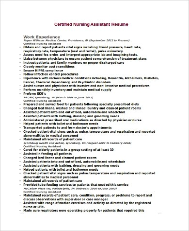 certified nurse assistant resume 88 Certified nurse assistant - certified nursing assistant resume