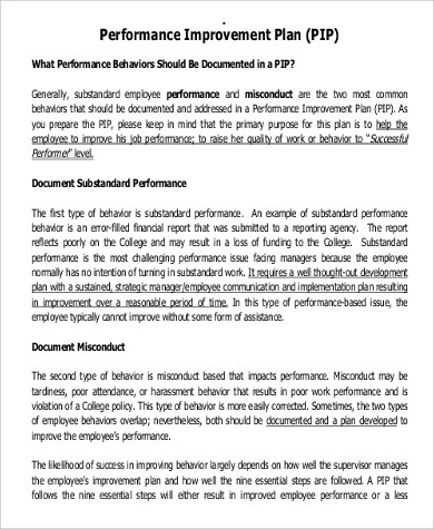 Performance Improvement Plan Example - 14+ Samples in Word, PDF - performance plan