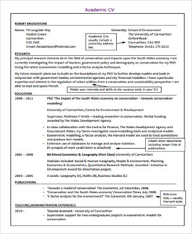 Sample Curriculum Vitae Format - 9+ Examples in Word, PDF