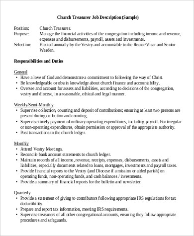 Sample Treasurer Job Description - 9+ Examples in Word, PDF