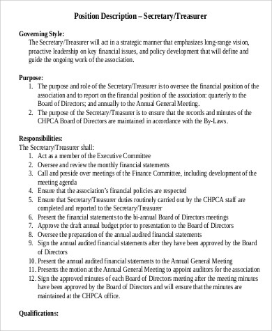 Duties Of Church Treasurer The Church Treasurer Handles Funds And Treasurer  Job Description