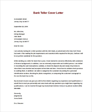 Sample bank teller cover letter How do I write the introduction - banking cover letter