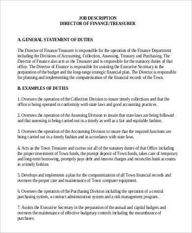 Sample Treasurer Job Description   9+ Examples In Word, PDF   Finance Director  Job