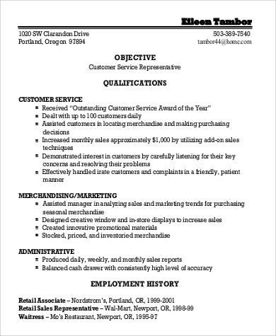 7+ Sample General Objectives for Resume Sample Templates - objectives for resumes for customer service