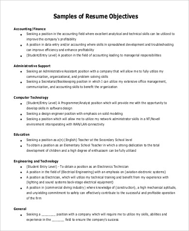 7+ Sample General Objectives for Resume Sample Templates