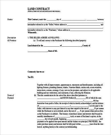 9+ Sample Land Contract Forms Sample Templates - land contract basics