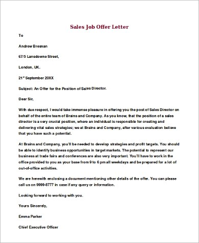 job offer letter sample 8 examples in word pdf offer letter example