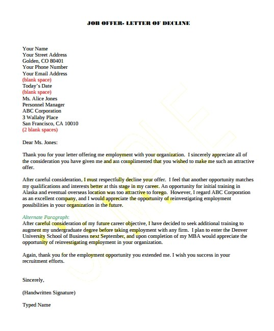 8+ Job Offer Letter Samples Sample Templates - decline offer letter