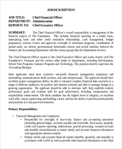 9+ Chief Financial Officer Job Description Samples Sample Templates