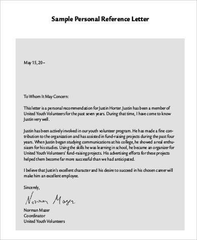 professional personal reference letter sample - Militarybralicious - personal reference sample