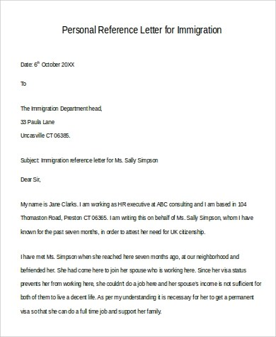 9+ Personal Reference Letter Samples Sample Templates - personal reference letter