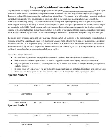 Sample Rental Background Check - 8+ Examples in PDF - background check consent forms
