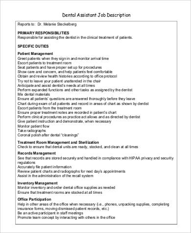 9+ Dentist Job Description Samples Sample Templates - dental assistant job description