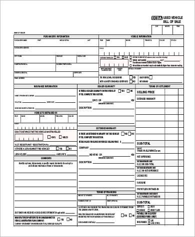 Sample Car Bill of Sale PDF - 6+ Examples in PDF